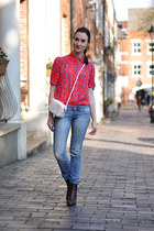 red flowers Primark shirt - brick red Bocage boots - blue Mango jeans