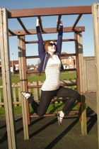 blue Newlook jacket - pink Newlook top - black bay leggings - black Newlook shoe