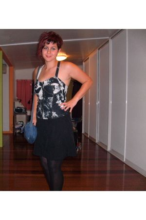 black vintage dress - top - black Myer stockings - black Target Australia shoes