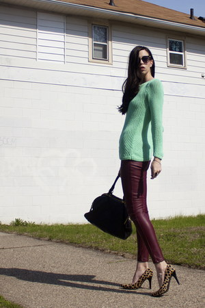 black JCrew bag - aquamarine Club Monaco sweater - black primp sunglasses