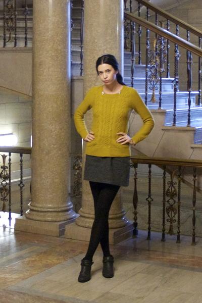 black Forever 21 boots - mustard cable knit Target sweater - gray Dakota skirt