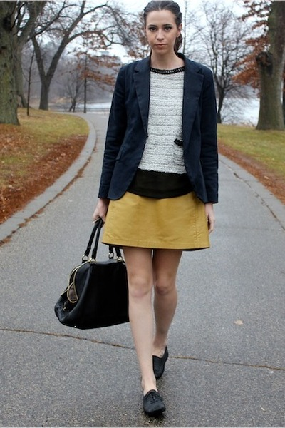 black Zara shirt - navy Necessary Objects blazer - black leather JCrew bag