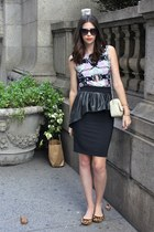 black Zara skirt - off white Zara bag - black cat eye Target sunglasses