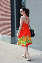red floral halter thrifted vintage dress - black gold hardware JCrew bag
