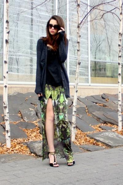 green Helmut Lang skirt - black lace detail Target shirt