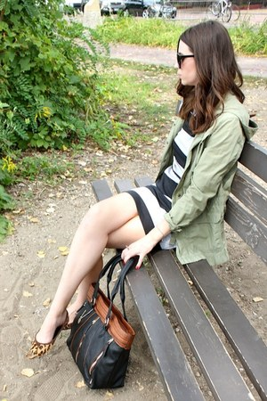 black Hackwith Design House dress - olive green military parka JCrew jacket