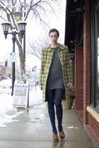 olive green plaid Urban Outfitters coat - charcoal gray knit Kenzo dress