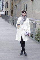 white milly coat - silver faux fur Macys scarf - periwinkle Target bag