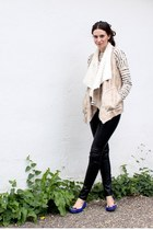 off white Zara vest - ivory Gap sweater - black faux leather H&M pants