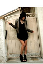 black Steve Madden shoes - black Zara dress - brown trouve jacket - silver Forev
