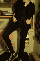 black Silk blouse - black Miley Cyrus and Max Azria leggings - black Converse sh
