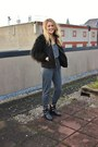 Black-topshop-boots-black-furry-black-zara-coat-green-zara-necklace
