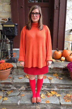 orange thrifted sweater - red Khols socks - red thrifted skirt