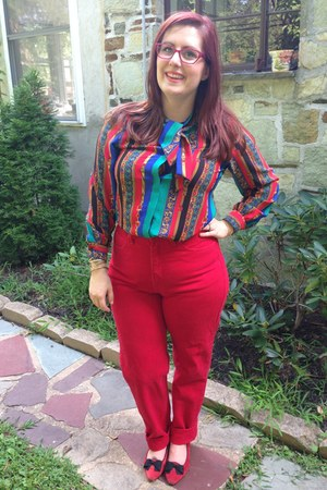 red vintage flats - ruby red Guess jeans - hot pink Steve Madden glasses