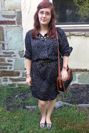 charcoal gray ann taylor dress - black Dooney & Bourke bag