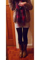 red scarf - gray Topshop skirt - white H&M t-shirt - black tights - purple cardi
