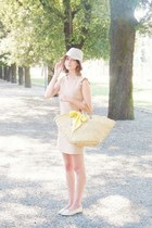 neutral Claudie Pierlot dress - eggshell floppy Sisley hat