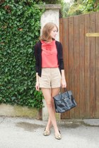 SANDRO blouse - leather bag longchamp bag - high waisted SANDRO shorts