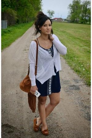 tawny Zara purse - navy chiffon Forever 21 dress - tawny suede Minnetonka flats