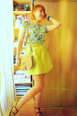 H&M top - handmade bag - handmade skirt - Mey sandals - new look bracelet