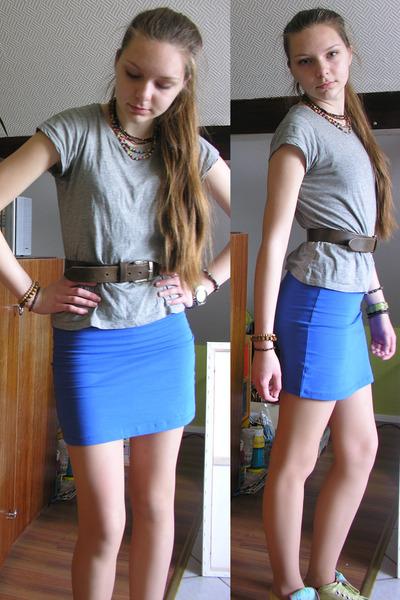 blue bodycon New Yorker skirt - silver thrifted t-shirt - dark brown belt