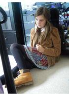 karen millen jacket - Top Shop earrings - Timberlnds boots - new look top - Top