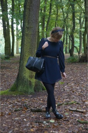 black Eurodif boots - navy Primark dress - black Primark belt
