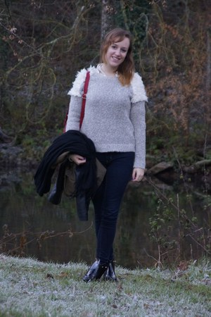 black Eurodif boots - navy American Eagle jeans - ivory Pimkie sweater