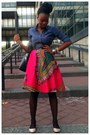Hot-pink-skirt-blue-shirt-black-tights-black-black-belt