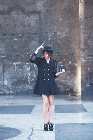 black Alyssa shoes - black double-breasted vintage dress