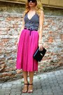Clutch-zara-bag-unknown-sandals-gingham-h-m-top-fuchsia-asos-skirt