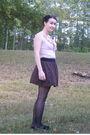 Pink-target-blouse-brown-old-navy-skirt-black-target-tights-black-target-s