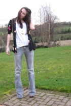 Primark t-shirt - thrifted blouse - Stradivarious jeans - Dorothy Perkins neckla