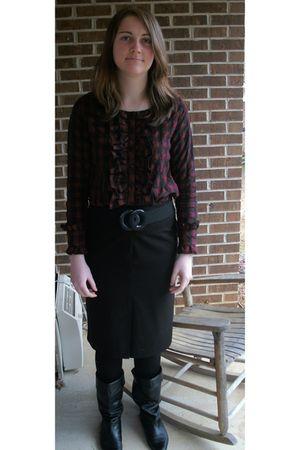 Moon Collection blouse - vintage belt belt - Worthington pencil skirt skirt - bl