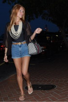 navy Gucci bag - sky blue thrifted shorts - black leotard thrifted bodysuit - ca