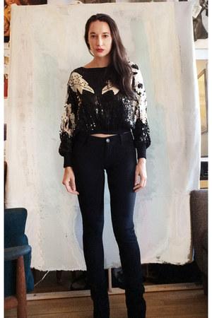 black ErinElsie sweatshirt - black Steve Madden boots - black Delias jeans