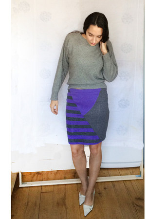 gray cashmere JCrew sweater - purple ErinElsie skirt