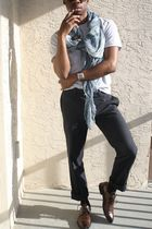 blue Zara scarf - gray Forever21 t-shirt - blue H&M pants - brown Aldo shoes