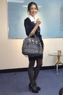 Black-puffy-sleeves-space-dress-charcoal-gray-gap-tights