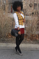 gold vest - black tights - brick red skirt - heather gray Candies pumps