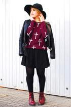 maroon cross Forever 21 sweater - maroon H&M boots - black Zara jacket
