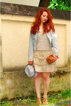 nude tally weill skirt - light blue acid washed H&M jacket