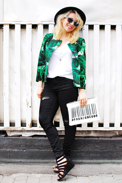 black Zara jeans - green palm print Zara blazer - white printed clutch Zara bag