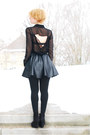 Black-chiffon-c-a-blouse-black-fake-leather-tally-weill-skirt