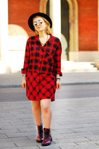 ruby red tartan H&M dress - crimson H&M boots