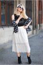 Ivory-lace-midi-h-m-skirt-black-crop-printed-h-m-top-black-tartan-h-m-blouse