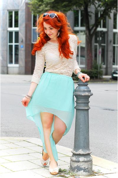 aquamarine longer hem New Yorker skirt - ivory lace Nasty Gal top