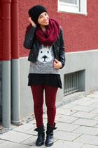 dark gray bunny Primark romper - maroon H&M leggings