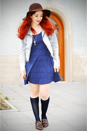polka dot H&M dress - Promod hat - acid wash H&M jacket