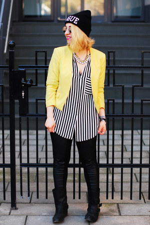 yellow H&M blazer - black striped Zara blouse